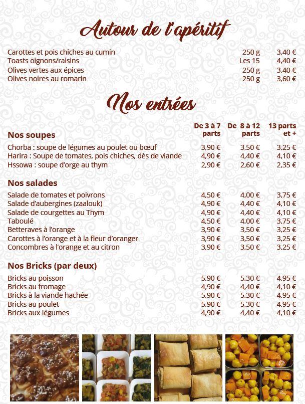 carte de menu riadzohra