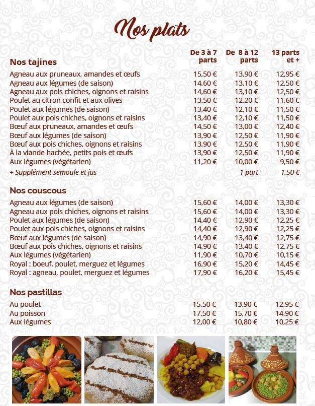 Carte des plats marocains à emporter